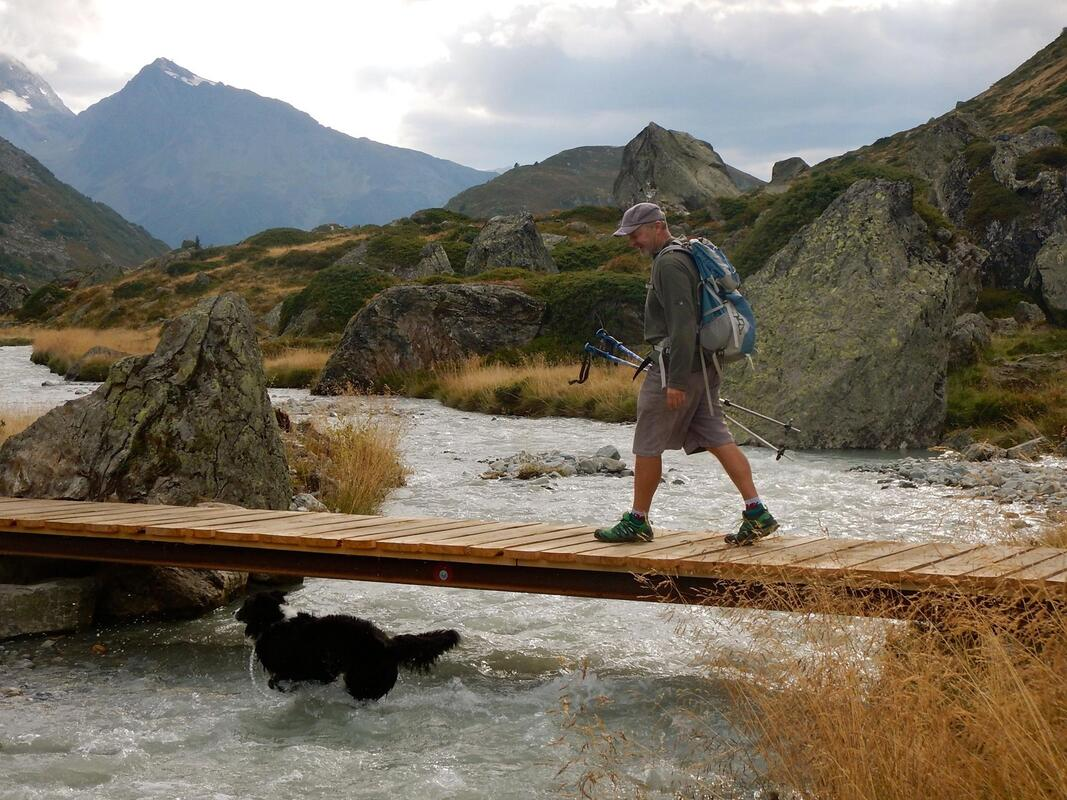 Man and His Dog in Perfect Harmony | French Alps. Pic Ben Gillam